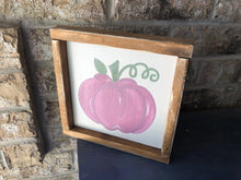 Load image into Gallery viewer, Hand-Painted Pink Pumpkin Farmhouse Sign - Fall Decor