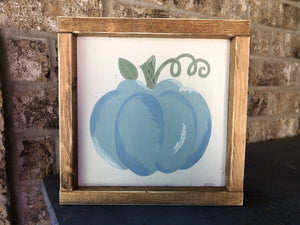 Hand-Painted Blue Pumpkin Sign