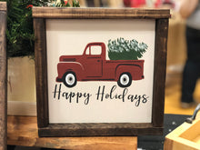 Load image into Gallery viewer, Happy Holidays Red Truck Sign