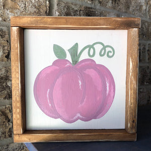 Hand-Painted Pink Pumpkin Farmhouse Sign - Fall Decor