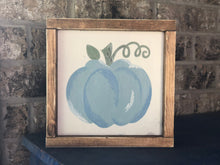 Load image into Gallery viewer, Hand-Painted Blue Pumpkin Sign