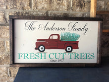 Load image into Gallery viewer, Red Truck Family Tree Farm Sign with Vintage Truck - Holiday Decor - Personalized Sign