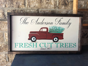 Red Truck Family Tree Farm Sign with Vintage Truck - Holiday Decor - Personalized Sign