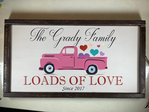 Valentine's Day Truck Sign - Personalized