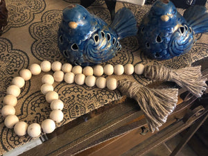 Farmhouse Wood Bead Garland - Round Beads