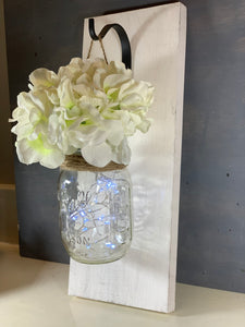 Mason Jar Sconce PAIR with Flowers