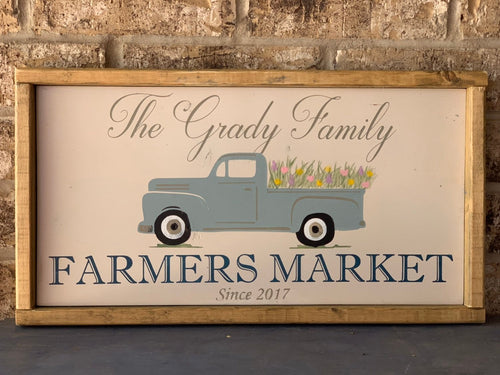 Farmers Market Spring Truck Sign - Personalized