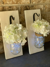 Load image into Gallery viewer, Mason Jar Sconce PAIR with Flowers