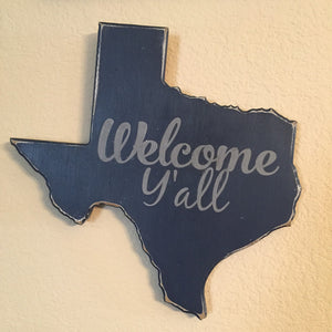 Welcome Y'all Wooden Texas Decor