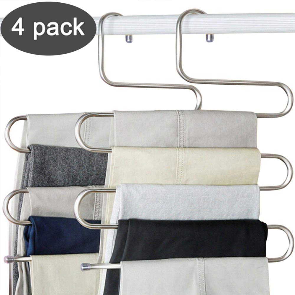 4 Pack S-shape 5 Layer MultiFunctional  Hangers Rack