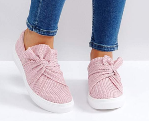 Women Knitted Twist Cozy Slip On Sneakers