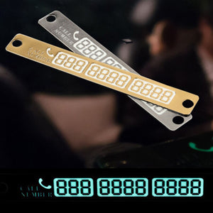 (2pcs)3D Phone Number Card-Plate Sucker-Car Body Sticker For Telephone Number Temporary Car Parking Card With Night Luminous