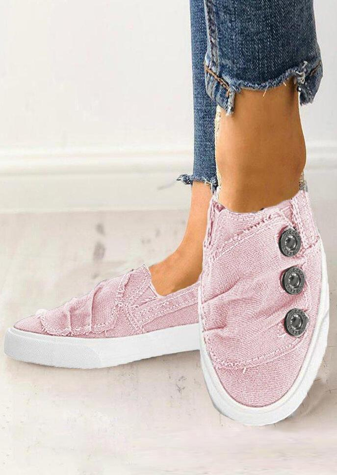 Solid Ruffled Button Flat Sneakers