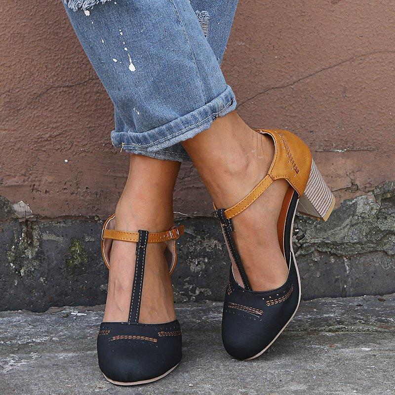 Vintage Color Block Sandals