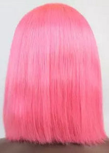 12 inch Virgin Pink Bob Lace Front Wigs