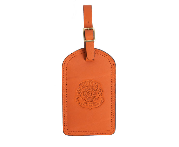 Luggage Tag No. 100 | Orange Leather