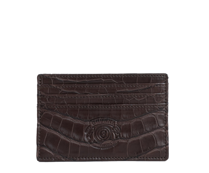 SLIM CREDIT CARD CASE NO. 204 | WALNUT ALLIGATOR