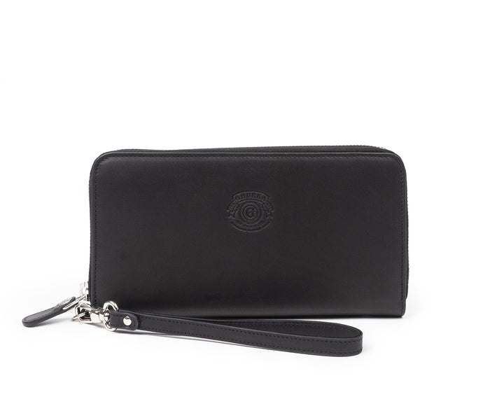 Zip Clutch Wallet No. 211 | Black Leather w/ Nickel