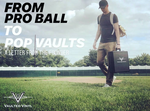 Vaulted Vinyl Founder Shane Kemp walking on a baseball field with a Pop Vault