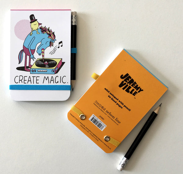 "Jeremyville CSA Notepads with Pencil - ""Create Magic / Let's Scribble"""
