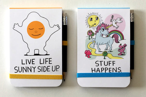 "Jeremyville CSA Notepads with Pencil - ""Live Life Sunny Side Up / Stuff Happens"""