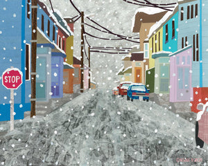 A town in Canadian Winter.  Greeting Card Designed and Printed in Canada.
