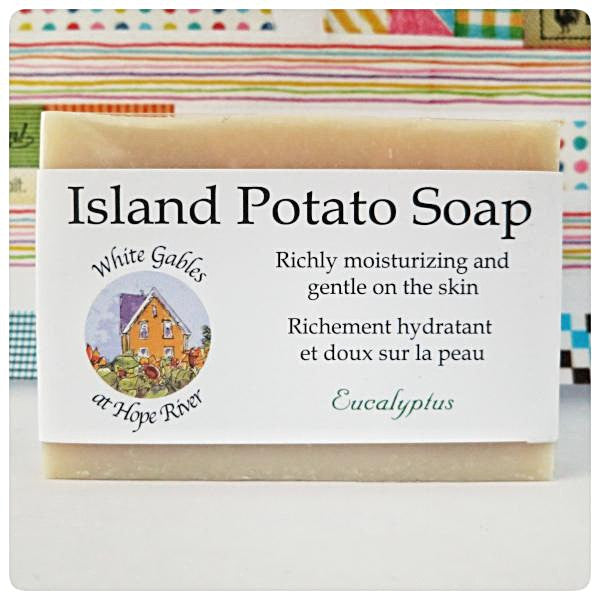 Eucalyptus Island Potato soap Made in PEI Canada. With PEI certified organic potato juice in cold process method.