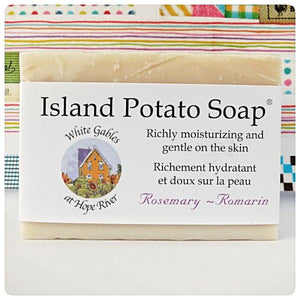 Island Potato soap - Rosemary, Made in PEI Canada. Handcrafted with PEI certified organic potato juice in cold process method.