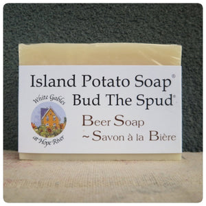 """Bud the Spud"" Beer Potato Island Soap Made in PEI Canada. With PEI certified organic potato juice in cold process method."