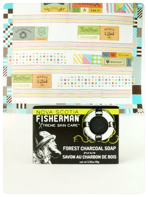 Nova Scotia Fisherman Forest Charcoal Soap. Made in Canada to relieve irritated skin naturally.