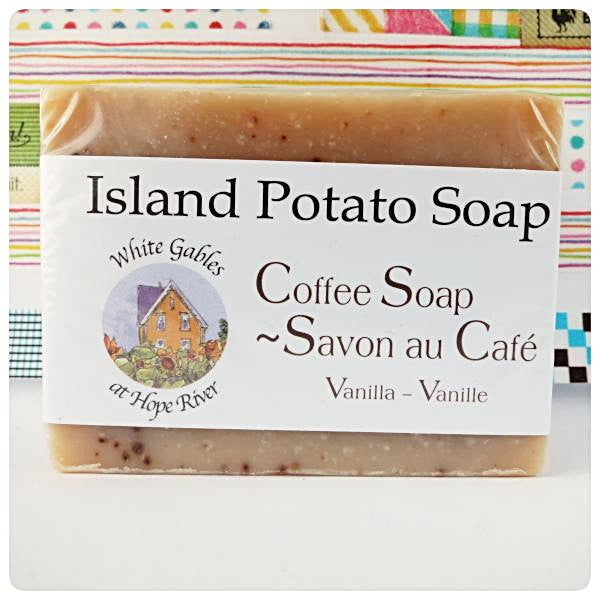 Coffee Vanilla Island potato soap Made in PEI Canada. With PEI certified organic potato juice in cold process method.