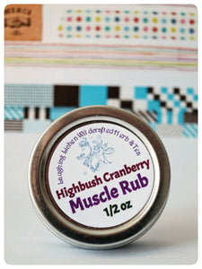 Laughing Lichen Highbush Cranberry Muscle Rub. Handcrafted in Canada's northern wilderness Northwest Territories, Canada.  Laughing Lichen