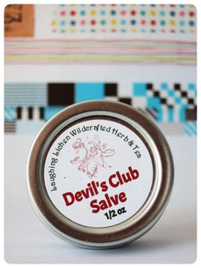 Laughing Lichen Devil's Club Salve. Handcrafted in Canada's northern wilderness Northwest Territories, Canada.  Laughing Lichen