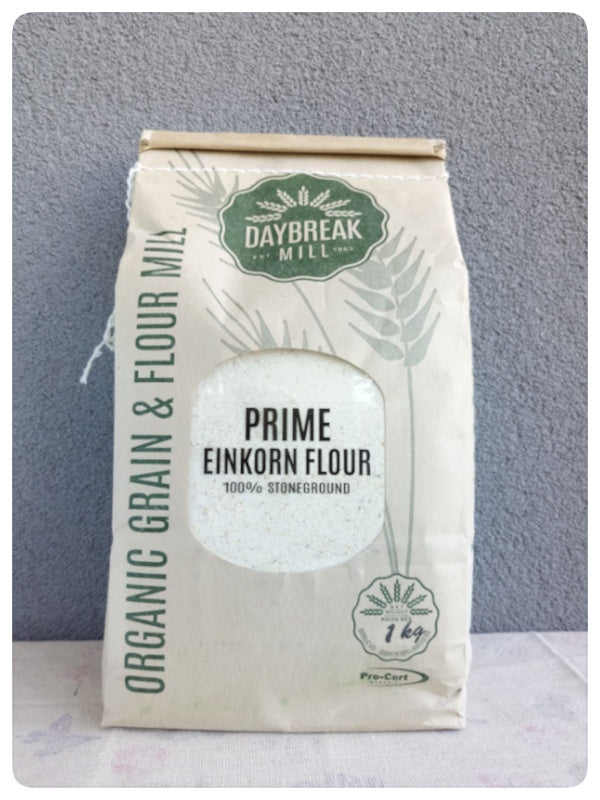 Prime Organic Einkorn Flour stone ground. Product of Saskatchewan, Canada.  DAYBREAK MILL