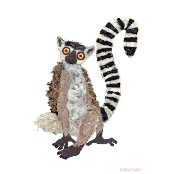 Ring-tailed Lemur.  Greeting Card Designed and Printed in Canada.