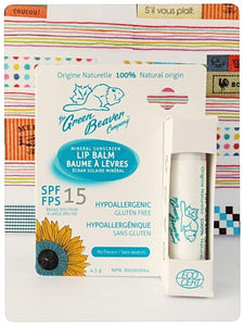 Health Canada Approved.  Made in Canada.  The green beaver company Sunscreen Lipbalm SPF 15.