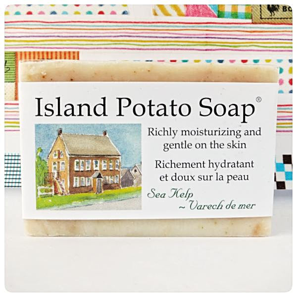 Sea Kelp Potato Island Soap Made in PEI Canada. With PEI certified organic potato juice in cold process method.