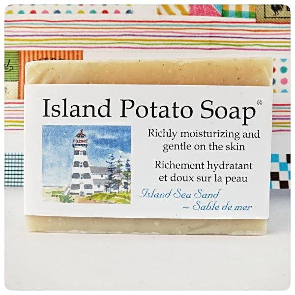 Sea Sand Island Potato Soap Made in PEI Canada. Handcrafted with PEI certified organic potato juice in cold process method.