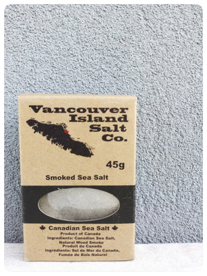 Canadian Smoked Sea Salt.  Vancouver Island salt Co. Made in Canada with Maple wood, apple wood and alder wood.