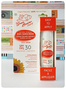 Health Canada Approved.  Made in Canada.  The green beaver company Kids Sunscreen Stick SPF 35.