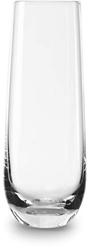 Circleware 55502 Downtown Stemless Champagne Flute Glasses Set of 4, Elegant All-Purpose Wine Drinking Glassware Beverage Cups for Water, Juice, Beer, Liquor, Whiskey & Home Bar Decor, 10.5 oz, Clear