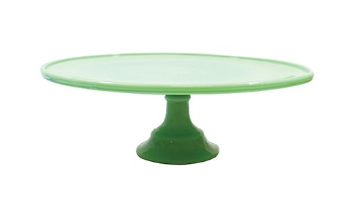 "Tablecraft HJCP13 Glass Cake Stand, 12.875"" x 4.375"", Green"