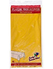 Plastic Party Tablecloths - Disposable, Rectangular Tablecovers - 8 Pack - Sunshine Yellow - By Party Dimensions