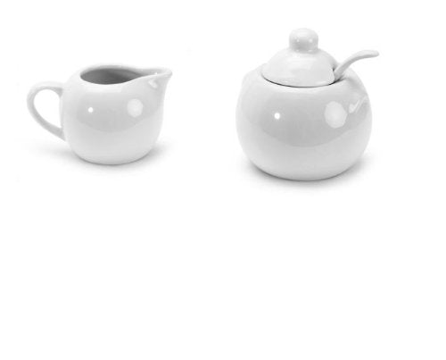 BIA Cordon Bleu White Porcelain 8 ounce Covered Sugar Bowl and Cream Jug