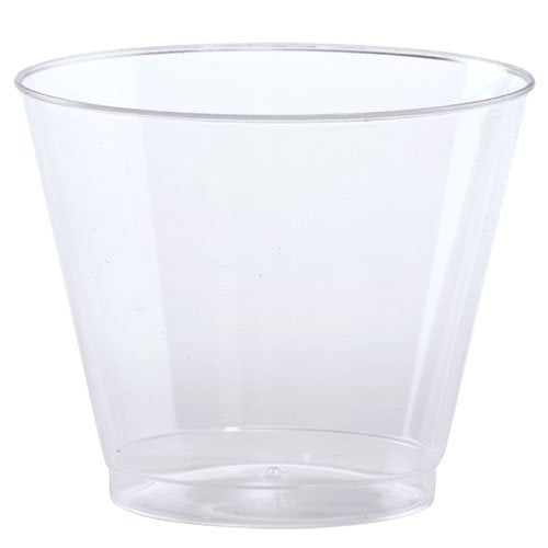 Hard Plastic Tumblers 9 oz. Party Cups/Old Fashioned Glass, 50 Count Drinking Glasses, Crystal Clear