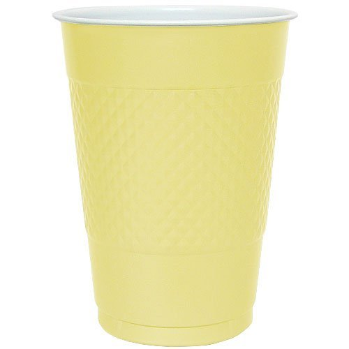 Hanna K. Signature Collection 50 Count Plastic Cup, 18-Ounce, Yellow