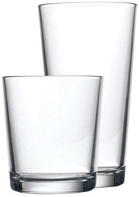 Circleware 44088 Spirit Huge Set of 16, 8-17oz Tumbler Drinking 8-13oz Whiskey Glass Dinnerware Kitchen Glassware for Water, Ice Beer, Wine and Best Bar Beverage Decor Gifts, Clear, 16pcs