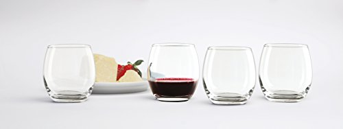 Circleware 44313 Uptown Stemless Red Wine Glasses Set of 4 Drinking  Glassware Set, Fun Party Entertainment Dining Beverage Cups for Water,  Juice,