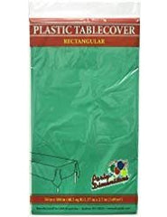 Plastic Party Tablecloths - Disposable, Rectangular Tablecovers - 8 Pack - Green - By Party Dimensions