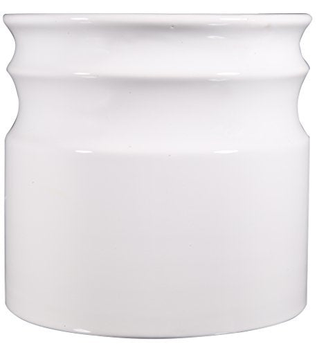 Home Essentials & Beyond 66380 7.5 D in. Turino Rings Utensil Crock - White